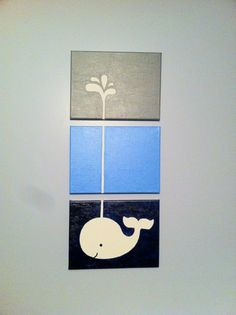 DIY whale painted canvas nursery art