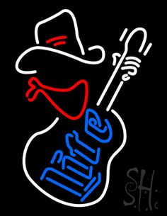 Miller Lite Cowboy Guitar Neon Sign 31 Tall x 24 Wide x 3 Deep, is 100% Handcrafted with Real Glass Tube Neon Sign. !!! Made in USA !!!  Colors on the sign are White, Red and Blue. Miller Lite Cowboy Guitar Neon Sign is high impact, eye catching, real glass tube neon sign. This characteristic glow can attract customers like nothing else, virtually burning your identity into the minds of potential and future customers.