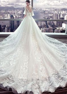 #Dressilyme - #Dressilyme Dressilyme Fantastic Tulle Off-the-shoulder Neckline Ball Gown Wedding Dress With Lace Appliques & Beadings - AdoreWe.com