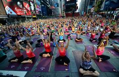 Times Square: #Yoga for masses in New York City #nyc