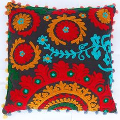 Indian Decorative Pillow cases Suzani Cushion covers Hand Embroidered Pillow Uzbek Style Retro Look Christmas Decor Woolen Embroidery 16x16