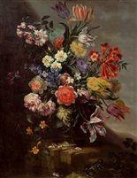 Blumenstück mit Blick in eine weite Landschaft di Franz Werner von Tamm