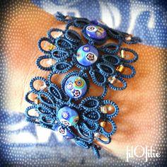 bracelet en frivolité, dentelle aux  navettes, avec perles vénitiennes