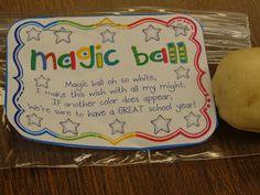 Magic balls - first week of school idea