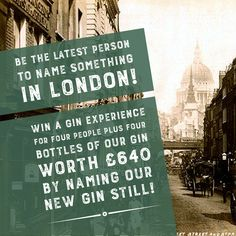 Be the latest person to name something in London! Just think how Cornhill, Cheapside, Poultry, Bread Street and Ironmonger Lane got their names. You could WIN a gin experience for four people PLUS four bottles of our gin -  worth a total £640 -  by naming our new gin still. Just add your chosen name to Comments and Tag the 3 friends you want to bring, then Like and Share. See our T&Cs for our #stillnoname #competition – http://www.cityoflondondistillery.com/competition