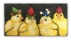 Vicki Sawyer needlepoint canvas of chicks in berry hats from Melissa Shirley