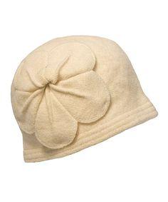 Look at this #zulilyfind! Cream Rosette Wool Cloche by Downtown Style #zulilyfinds