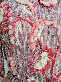 Pierre Balmain couture evening gown. Heavily embroidered bodice from  Maison Lesage. Fine pleated pink silk satin dress skirt with heavily beaded crystal, metallic & silk chenille floral themed embroidered covered bodice  fully hand sewn, fully lined & zips up back.