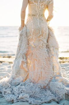 MXM Couture wedding gown with layers of tulle, ruffles, crystals and intricate beading // Mermaid Inspiration With an Other-Worldly Gown Seaside Wedding, Wedding Decor, Bridal Gowns, Wedding Gowns, Lace Wedding, Coastal Wedding Inspiration, Dress Vestidos, Bridal Style, Wedding Bells