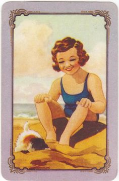 COLES SWAP CARD AS NEW -GIRL WITH  DIGGING PUPPY ON THE BEACH