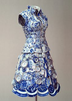 Li Xiaofeng is Beijing artist who creates clothing piece made from traditional Chinese ceramics. Li Xiaofeng is Beijing artist who creates clothing piece made from traditional Chinese ceramics. Blue And White China, Blue China, China Art, Crazy Dresses, Broken China, Broken Broken, Broken Glass, Delft, White Porcelain
