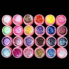 24 Farben UV Gel Set Deko Tipps Farbgel Nagelgel Glitter Nail Art Farben Rosa