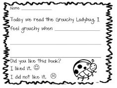 The Grouchy Ladybug Response Sheet Freebie