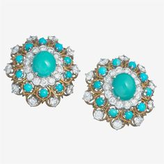 A pair of turquoise, diamond, platinum and eighteen karat gold ear-clips