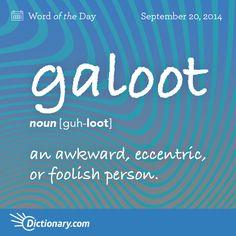 galoot     guh-LOOT   , noun;     1. Slang . an awkward, eccentric, or foolish person.