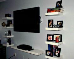 Floating Ikea LACK shelves as an entertainment center