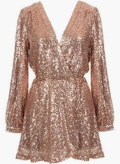 Usually not one for tons of sequins but this rose gold shade dress is gorg!
