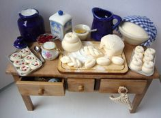 Fabulous dressed one inch scale dollhouse bread making kitchen table
