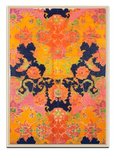 Soicher Marin, Vintage Orange & Pink Wallpaper Remnant Canvas, $328 Gilt (this is a great idea- frame really cool vintage wallpaper)