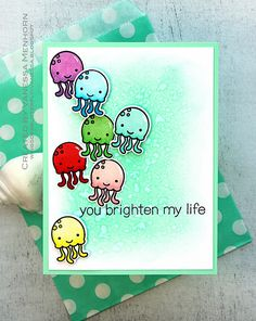 Lawn Fawn rainbow So Jelly card by Vanessa Menhorn.