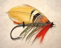 reproduction of an antique Atlantic Salmon fly.