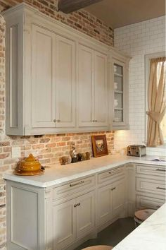Office cabinetry? Brick wall?