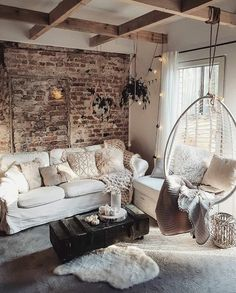 Cozy living room design with hanging chair and exposed brick and exposed beams Elegant Living Room, Cozy Living Rooms, Living Room Interior, Home And Living, Living Room Brick Wall, Brick Interior, Bedroom With Brick Wall, Living Room Vintage, Rustic Modern Living Room