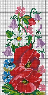 Cross Stitch Flowers, Cross Stitch Designs, Hand Embroidery, Poppies, Wreaths, Decor, Red Flowers, Cross Stitch Borders, Cross Stitch Art