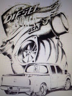 Diesel power USA tattoo or drawling with ford dually f-450 and turbo