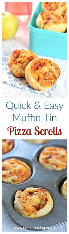 Kids Meals Really easy muffin tin pizza scrolls recipe - great for freezing for kids school lunch boxes - Eats Amazing UK Lunch Box Recipes, Baby Food Recipes, Cooking Recipes, Lunchbox Ideas, Toddler Recipes, Snacks Recipes, Toddler Food, Pizza Recipes, Dessert Recipes