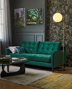 Luxury living room look: Luxury Lovers enjoy a touch of sumptuous indulgence in their homes with plush velvet sofas and cushions, dramatic decorative accessories, and gold, copper and brass lighting adding decadent allure. (Photo: John Lewis)