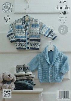 KNITTING PATTERN Baby Easy Knit V-Neck Cardigan &Roll Collar Jacket DK KC 4199