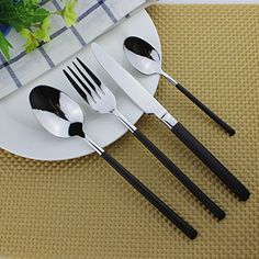 4-Piece Flatware Set, FULiYEAR Stainless Steel Tableware with Knife Fork Spoon Coffee spoon Cutlery for Home Kitchen or Restaurant Service-Silver Black