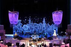 Blue NYC Skyline Stage on Preston Bailey's Event Ideas