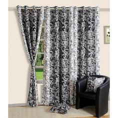 Swayam Premium Printed Sigma Blackout Curtain Black And White - Take a look at this excitingly designed printed blackout curtain from Swayam. This looks fabulously classy in a mixture of black and white and will delight you with its elegance.