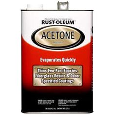 Easily thin two-part epoxies and fiberglass resins with Rust-Oleum® Automotive Acetone, the strongest and fastest evaporating solvent available. This special-purpose thinner also softens a wide range of materials, including plastic, Plexiglas, glue and tar.