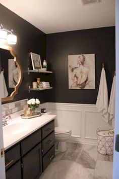 45 Beautiful Urban Farmhouse Master Bathroom Makeover - Home Decor Ideas Black And Gold Bathroom, Silver Bathroom, Master Bathroom, White Bathroom, Small Bathroom, Bathroom Marble, Bathroom Showers, Basement Bathroom, Modern Bathroom