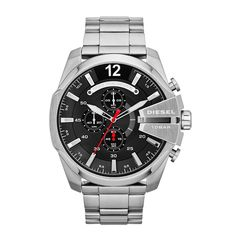Diesel Mens Chronograph Mega Chief Stainless Steel Watch