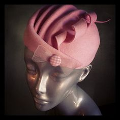 Pink Wool Sculptural Curliecue Hat and by BaublesAndWhatnots,  SOLD