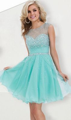 Sweet 16 Dresses turquoise A-line Beaded Sparkly Short Homecoming Dress  2015 Hot Sale Semi Formal Short Prom Cocktail Dress Gown - Onestop Wedding  Store c1b23f505