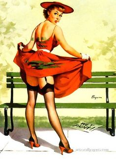 """Gil Elvgren - """"I've Been Spotted"""" (Lasting Impression) 1956 [367]"""