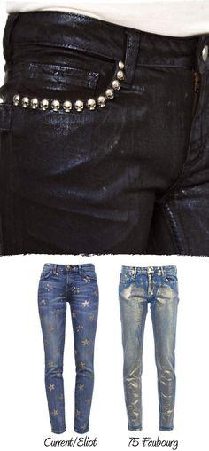 Idea DIY, vaquero con estrellitas plateadas Jean Diy, Metallic Jeans, Dares, Denim, Sewing, Blog, Ideas Para, Outfits, Crafty