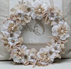 #shabby #chic #wreath - made from #lace #doilies #burlap #linen #buttons #pearls #flowers and more - inspiration only, but I LOVE it - #craft #crafts #home #decor #decorating - ShabbyChicInspired tå√