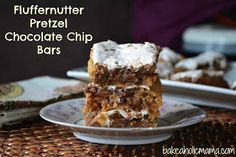 Bakeaholic Mama: Fluffernutter Pretzel Chocolate Chip Bars
