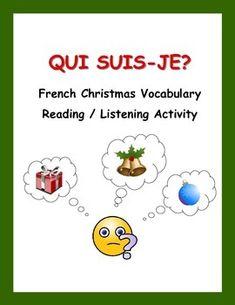 Une activité de lecture et d'écriture pour renforcer le vocabulaire de Noël et pour réviser les adjectifs, les adverbes, et les prépositions.  Des cartes vides sont fournies pour donner aux élèves l'occasion de créer leurs propres cartes Qui suis-je? sur Noël.