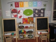 I like the way the resources for art are in between the easels so the children decide what to use
