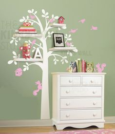 7 Shelf Tree - Kids Wall Stickers, Nursery Wall Decals + fun room accessories! - Leafy Dreams Nursery Decals