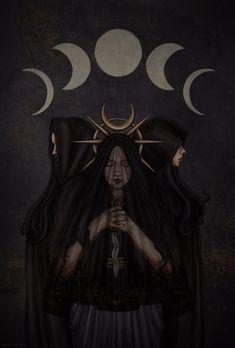 Hecate Goddess, Goddess Art, Moon Goddess, Dark Fantasy Art, Dark Art, Dessin Old School, Witchy Wallpaper, Occult Art, Triple Goddess