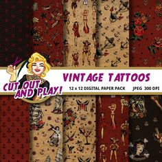Vintage tattoos designer scrapbook digital papers for crafts, party decorations, themed birthdays, gift wrapping, planner stickers, journaling. #sailor #jerry #pinup #pin #up #girl #tattoo #vintage #retro #nautical #anchor #rose #roses #sparrow