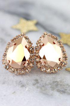 ❘❘❙❙❚❚ 2016 Bridal Weekend SALE ❚❚❙❙❘❘     Rose Gold Earrings,Rose Gold Stud Earrings,Swarovski Rose Gold Earrings,Bridal Rose Gold Earrings,Bridesmaids